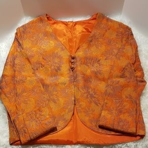 Vintage Orange Brocade Jacket